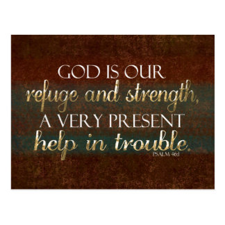 God is our Refuge Christian Bible Verse Brown/Gold Post Cards