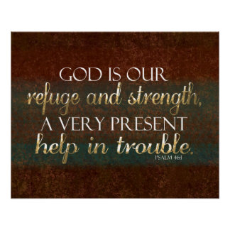 God is our Refuge Christian Bible Verse Brown/Gold Poster