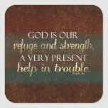 God is our Refuge Christian Bible Verse Brown/Gold Stickers