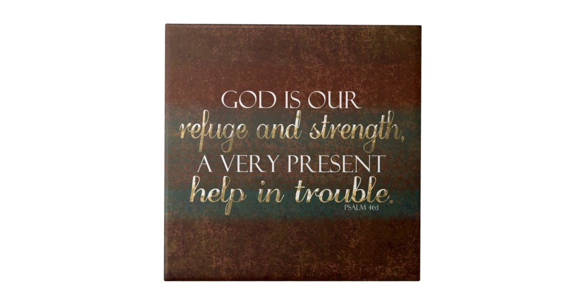 God Is Our Refuge Christian Bible Verse Brown Gold Tile