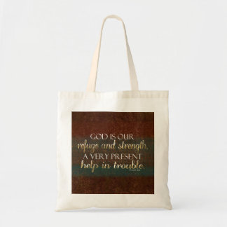 God is our Refuge Christian Bible Verse Brown/Gold Tote Bag
