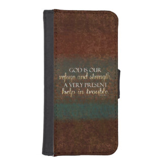 God is our Refuge Christian Bible Verse Brown/Gold Wallet Phone Case For iPhone SE/5/5s