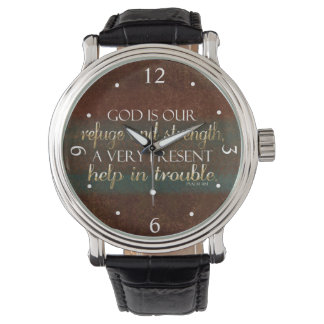 God is our Refuge Christian Bible Verse Brown/Gold Wristwatch