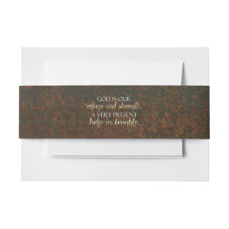 God is our Refuge Christian Bible Verse Brown/Gold Invitation Belly Band