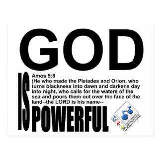 God Is Powerful - Amos 5:8 Postcard