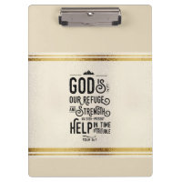 God is Refuge and Strength Christian Bible Verse Clipboard