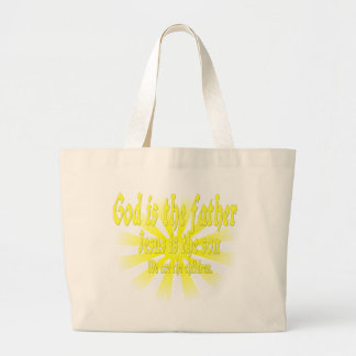 God is the father Jesus is the son Tote Bags