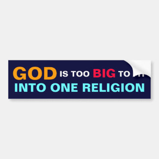 GOD IS TOO BIG TO FIT INTO ONE RELIGION BUMPER STICKER