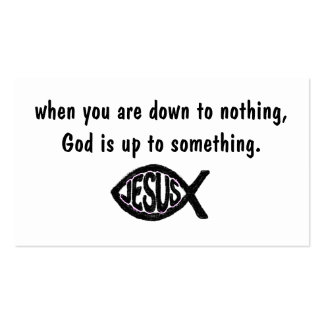 God is up to something Jesus fish business cards