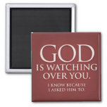 God is Watching Over You. Burgundy magnet. 2 Inch Square Magnet