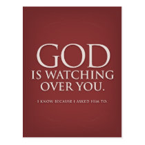 God is Watching Over You. Burgundy postcard. Postcard