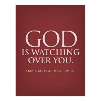 God is Watching Over You. Burgundy postcard. Postcard