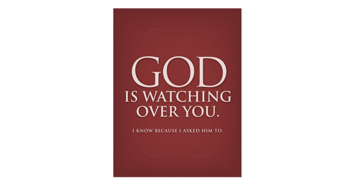 God Is Watching Over You Burgundy Postcard Zazzle