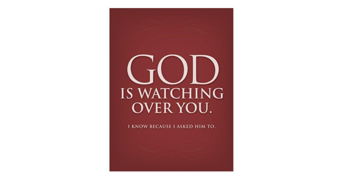 God Is Watching Over You Burgundy Postcard Postcard