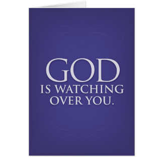 God is Watching Over You. Violet greeting card. Card