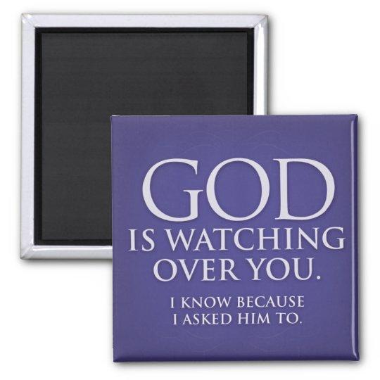 God is Watching Over You. Violet magnet. Magnet