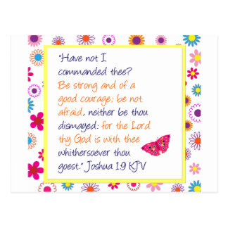 God is With Thee: Floral Butterfly Design Postcard