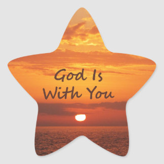 God Is With You Orange Sunset Star Sticker