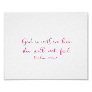 God is within her she will not fail - pink poster