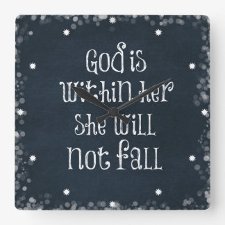 God is Within Her, She Will Not Fall Bible Verse Clock