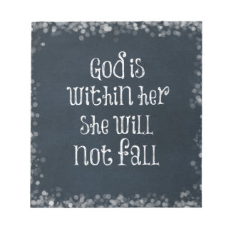 God is Within Her, She Will Not Fall Bible Verse Note Pad