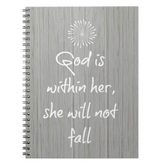 God is Within Her, She Will Not Fall Bible Verse Spiral Notebook