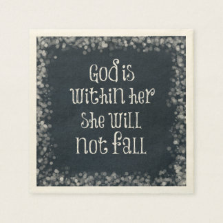 God is Within Her, She Will Not Fall Bible Verse Disposable Napkins