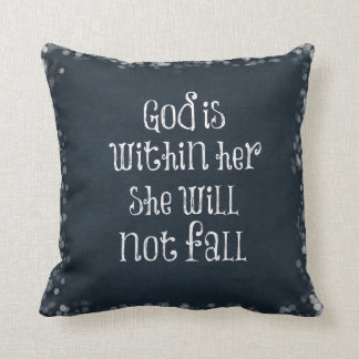 God is Within Her, She Will Not Fall Bible Verse Throw Pillow