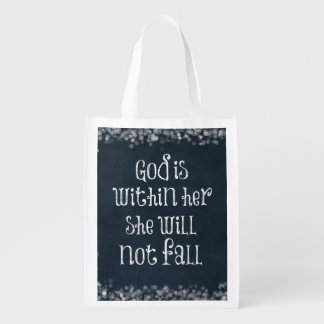 God is Within Her, She Will Not Fall Bible Verse Market Totes