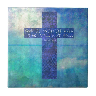 God is within her uplifting Bible verse Psalm 46:5 Ceramic Tile