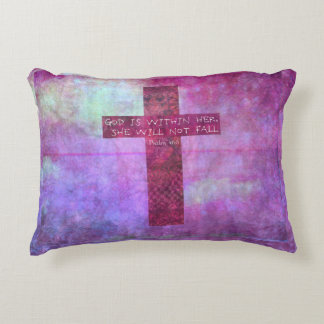 God is within her uplifting Bible verse Psalm 46:5 Decorative Pillow