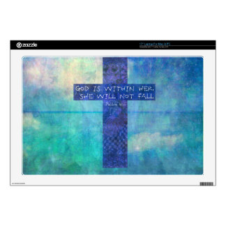 """God is within her uplifting Bible verse Psalm 46:5 17"""" Laptop Skins"""