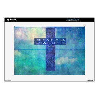 """God is within her uplifting Bible verse Psalm 46:5 15"""" Laptop Decals"""