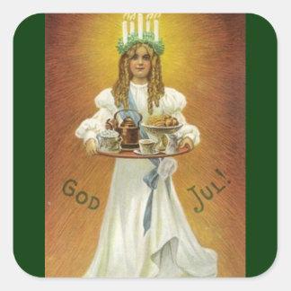 God Jul!  A Swedish Merry Christmas Square Sticker