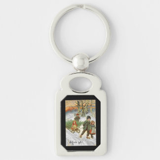 God Jul Children in the Snow Keychain