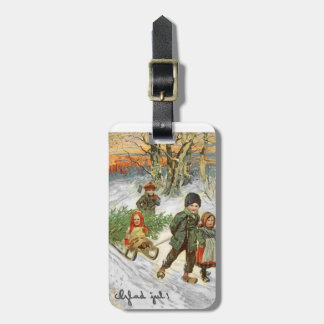 God Jul Children in the Snow Luggage Tag