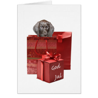 God Jul  german shorthaired pointer pup Chistmas Card
