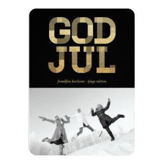 God Jul Glänsande Guld Foto Hälsningar Card