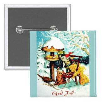"""God Jul!"" Gnome with Bird feeder Pin"