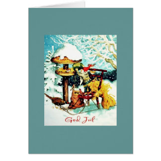 """God Jul!"" Gnome with Bird feeder Greeting Card"