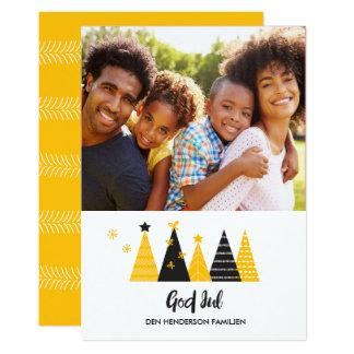 God Jul Gold & Black Christmas Trees Card