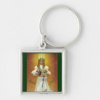 God Jul!  Lucia Child with Treats Keychain