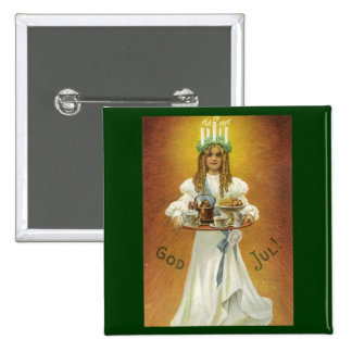 God Jul!  Lucia Child with Treats Pinback Button