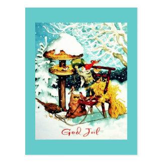 """God Jul!"" Nisse Feeds Little Birds Postcard"