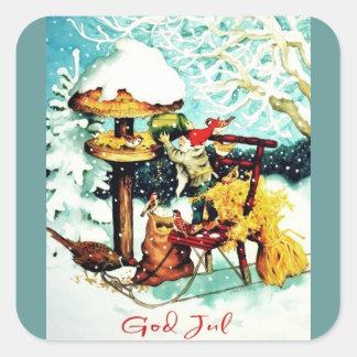 """God Jul!"" Nisse Feeds Little Birds Square Sticker"