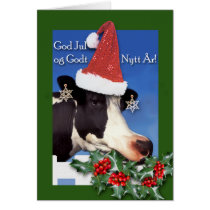 God Jul, Norwegian Christmas, Cow with Santa Hat Card