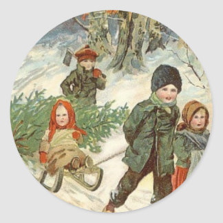 """""""God Jul!"""" or Tiny Children in the Snow Classic Round Sticker"""