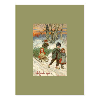 """God Jul!"" or Tiny Children in the Snow Postcards"