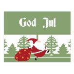 God Jul Santa Postcard
