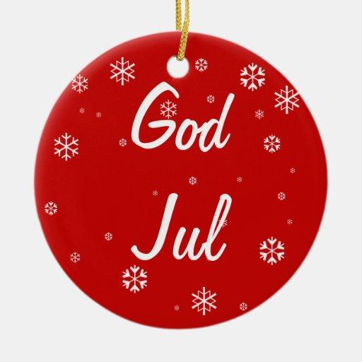 God Jul Snowflakes Christmas Tree Ornaments